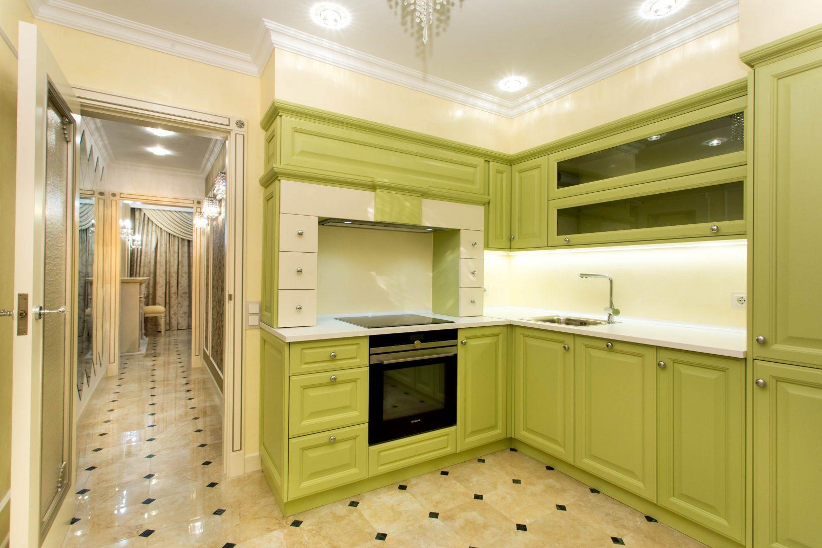 encimera de cocina verde
